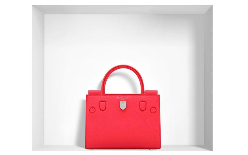 "Mini ""Diorever"" Bag in Fluorescent Goji Pink Bullcalf Leather"