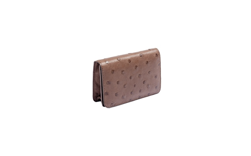 Fold-over Wallet Ostrich Brown