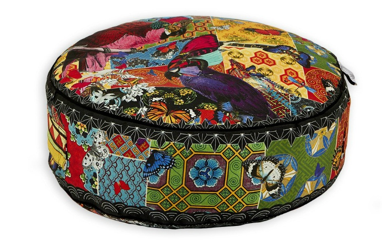 Red Parrot Tapestry Pouffe