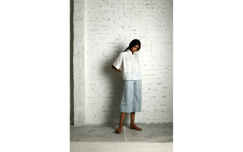 Simple boxy shirt and woven culottes