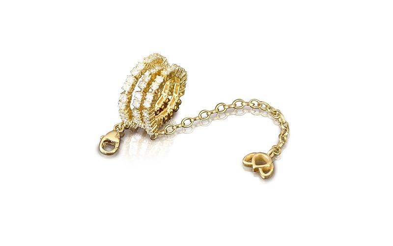 'Little Luca' 18 Carat Yellow Gold and Diamond Lotus Bracelet
