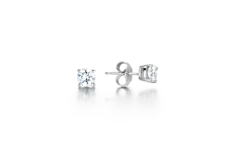 Four Claw Cluster Diamond Stud Earrings
