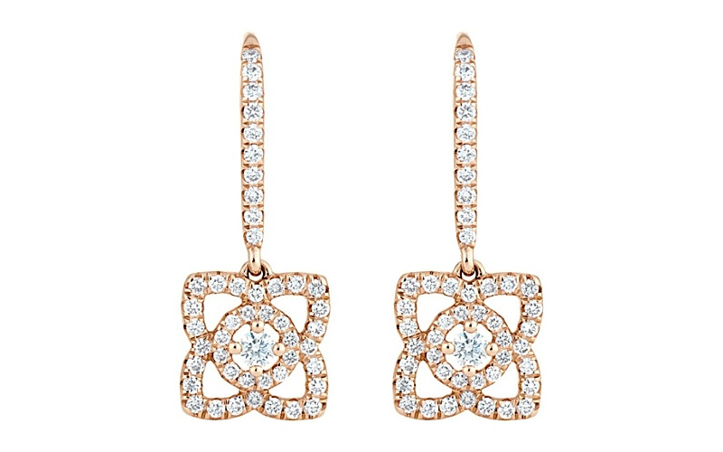 ENCHANTED LOTUS 18 CT PINK GOLD DIAMOND EARRINGS