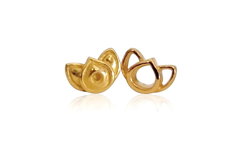 'Little Luca' 18 Carat Gold Lotus Stud Earrings