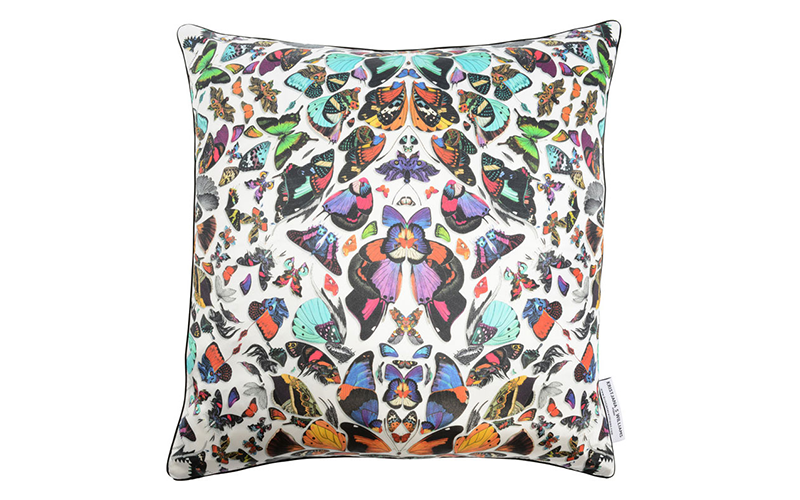 Kaleidoscope White 100% Silk Cushion