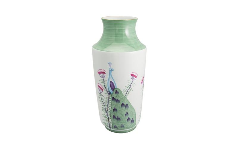 Limoges Peacock Vase - Emerald