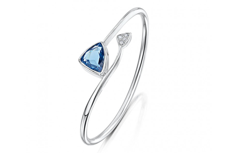 BLUE TOPAZ & DIAMOND SILVER BANGLE