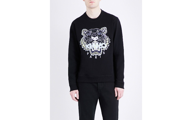 Tiger-embroidered cotton-jersey sweatshir