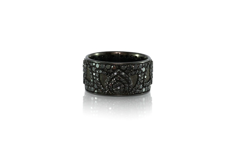BLACK DIAMOND LOTUS COCKTAIL RING