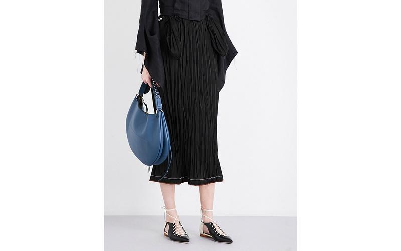 Crinkle Texture Satin Skirt