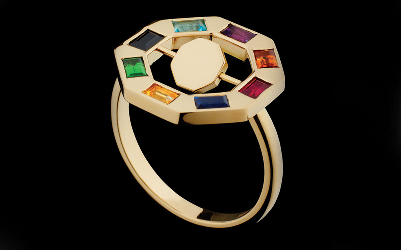 FLIP OCTO RING WITH STONES - 18ct Fairtrade & Fairmined Ecological yellow gold with precious stones