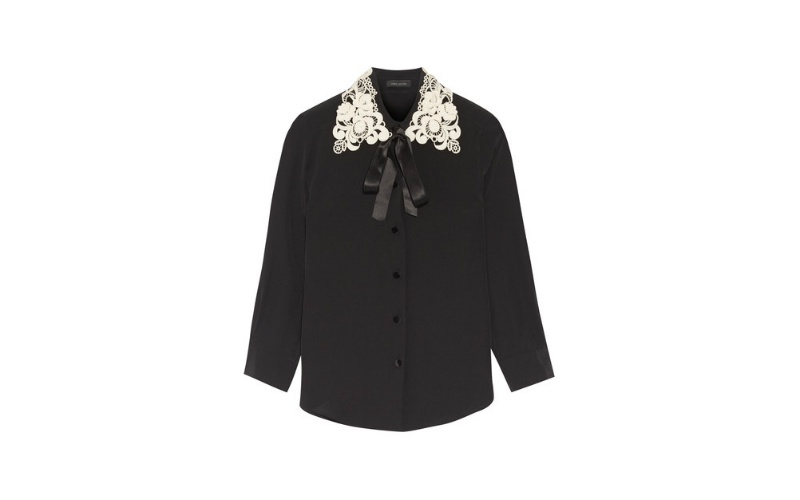 Black Guipure Crepe de Chine Shirt