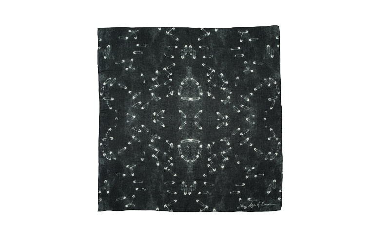 Black Safety-Pins Silk Scarf