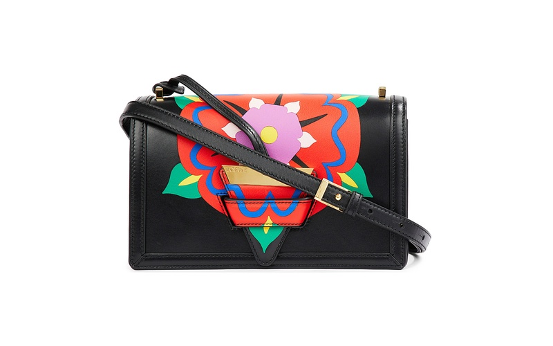 Barcelona flower leather shoulder bag