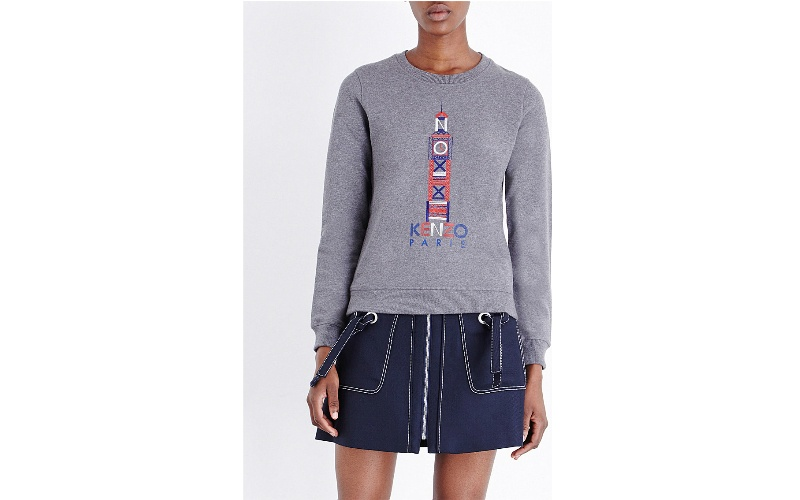 London-embroidered cotton-jersey sweatshirt