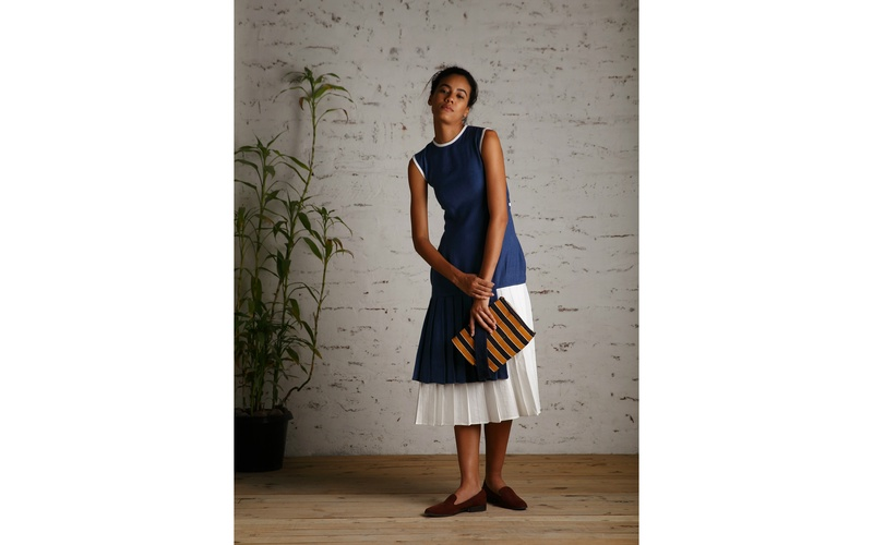 Natural Indigo Tunic and White Linen Pleated Skirt