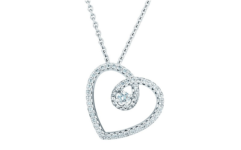 HEART WHITE GOLD AND DIAMOND PENDANT