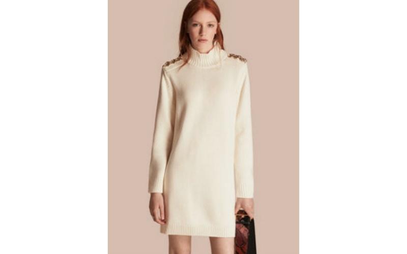 REGIMENTAL DETAIL WOOL CASHMERE HIGH-NECK DRESS