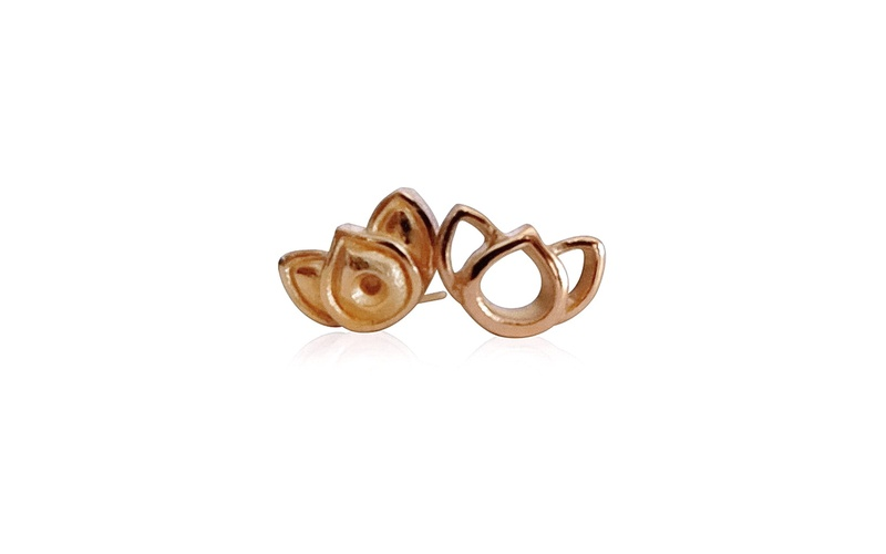 'Little Luca' 18 Carat Rose Gold Lotus Stud Earrings