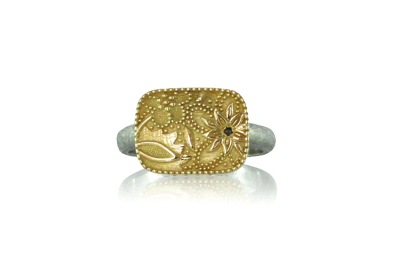 Black Diamond Gold Palladium Flora Ring