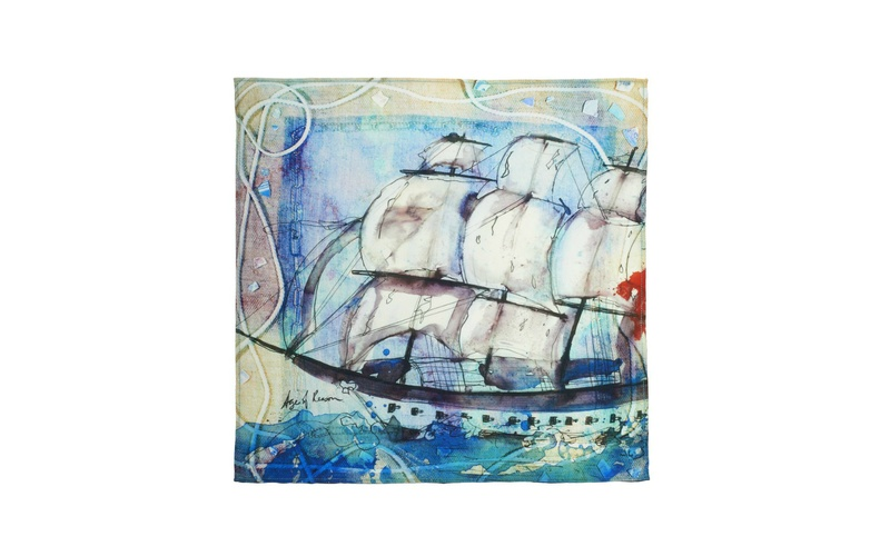 'Ship in a Storm' Silk Scarf