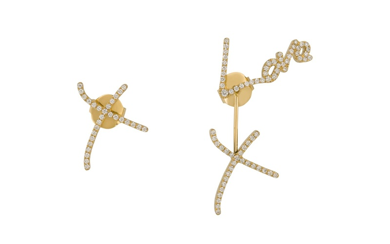 Neon Emin Love and Kisses Earrings in Yellow Gold with White Diamonds