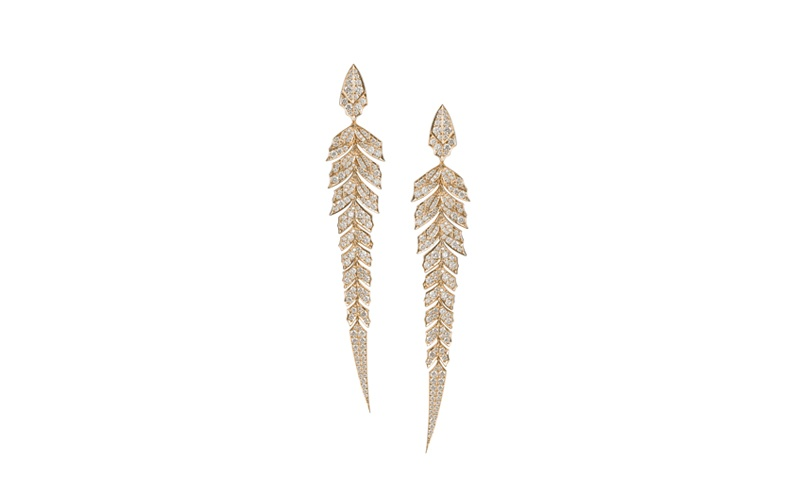 Magnipheasant Pave Earrings in Rose Gold and White Diamonds
