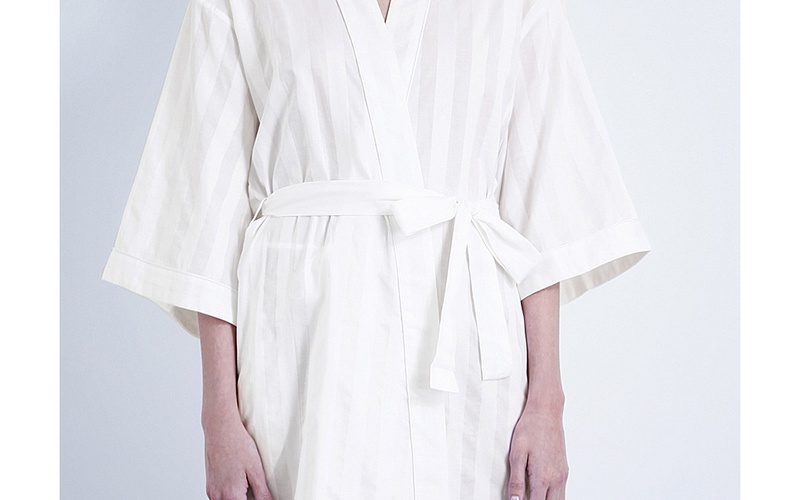 SHADOW STRIPE COTTON ROBE