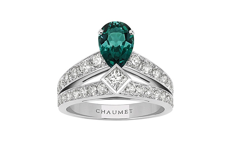 Joséphine Tiara 18ct white-gold, green tourmaline and diamond ring