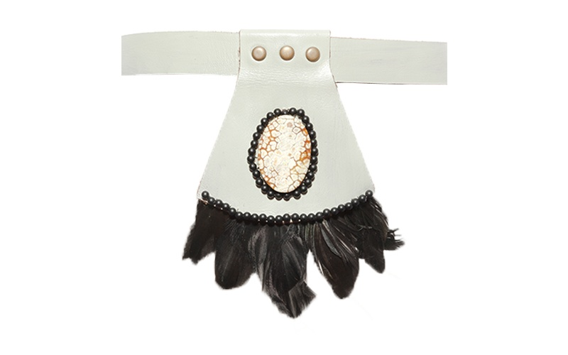 Leather and Reclaimed Feather Collar