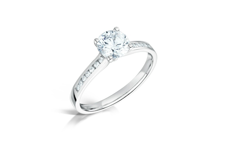 Channel-Set Diamond Shoulders Engagement Ring