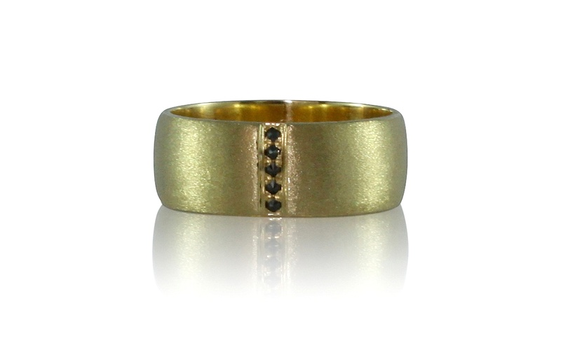 Men's Black Diamond Yellow Gold Ring