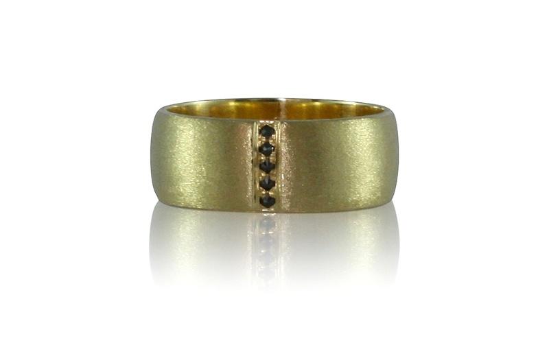 Men's Black Diamond Yellow Gold Ring