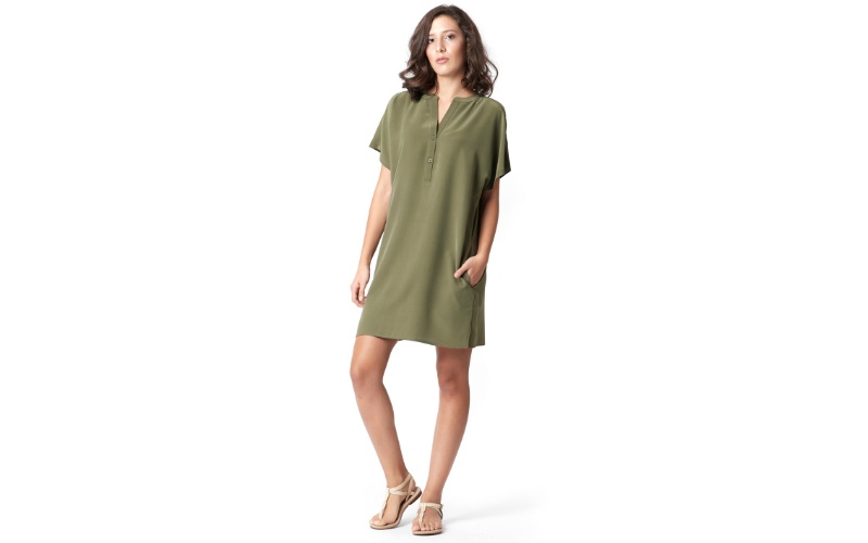 Silk Shirt Dress in Olive Green