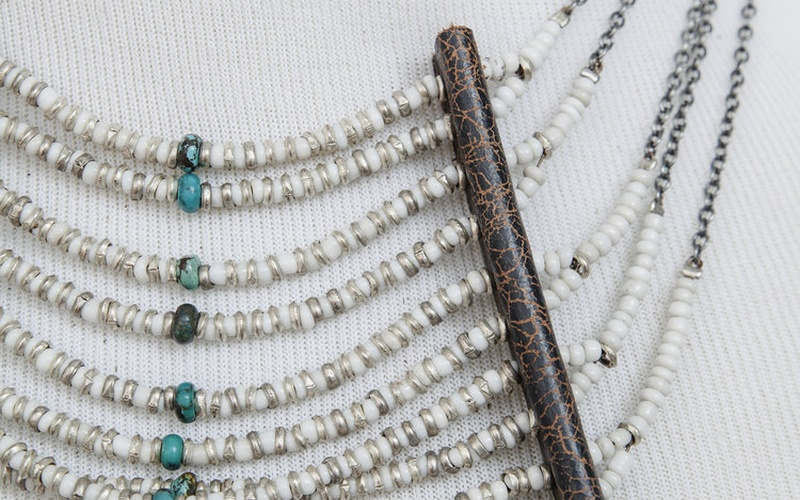 Glass and Turquoise Beaded Collar