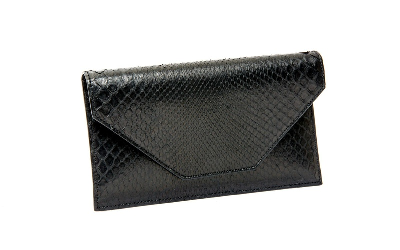 Black Python Clutch Wallet