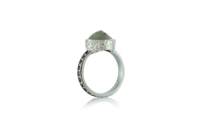 GREEN AND BLACK DIAMOND PLATINUM RING
