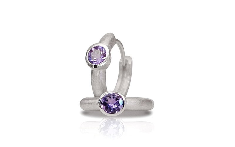 'Little Luca' Silver Tanzanite Earrings