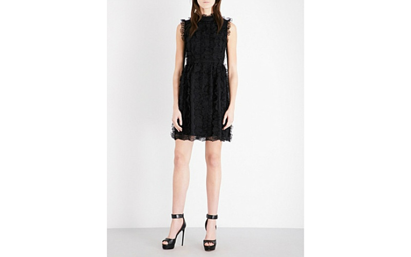 Ruffled lace dress black