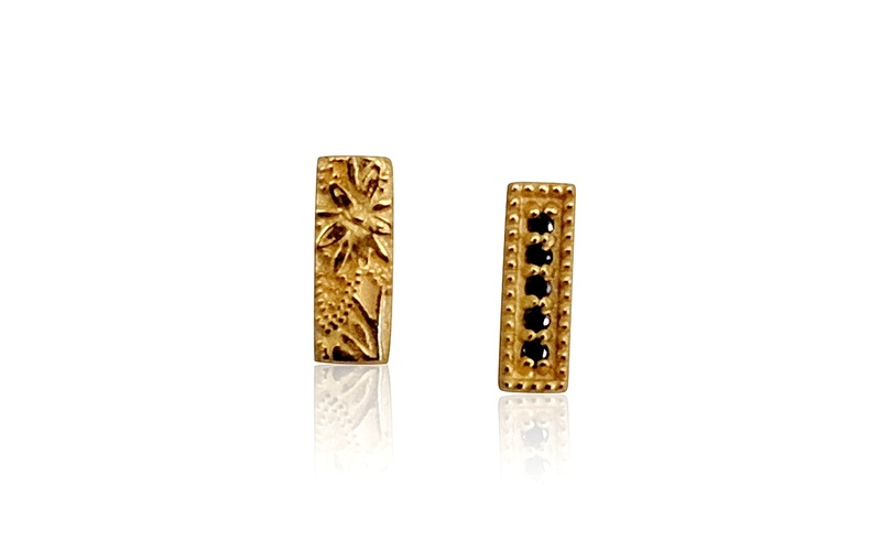 'Little Luca' 18 Carat Yellow Gold and Black Diamond Bar Studs