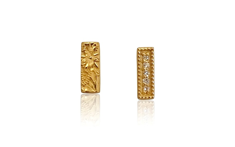 'Little Luca' 18 Carat Yellow Gold and Diamond Bar Studs