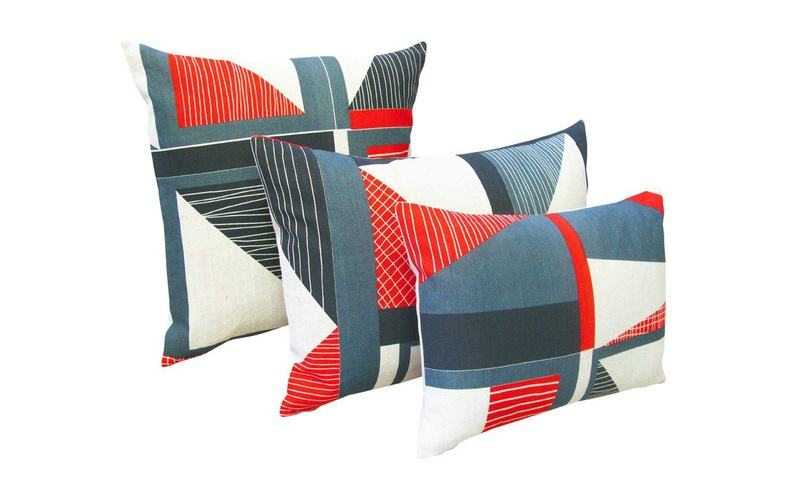 Red and Blue Abstract Cushion
