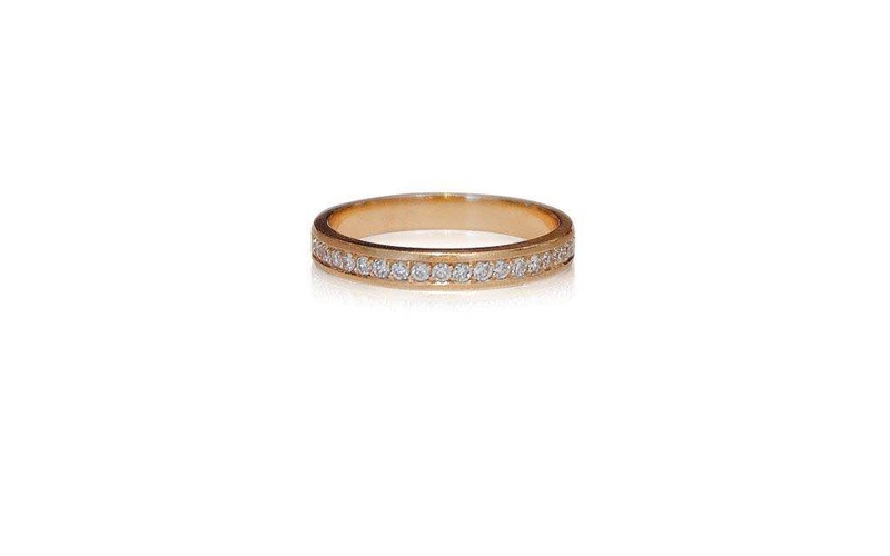 18 CT ROSE GOLD AND WHITE DIAMOND BAND