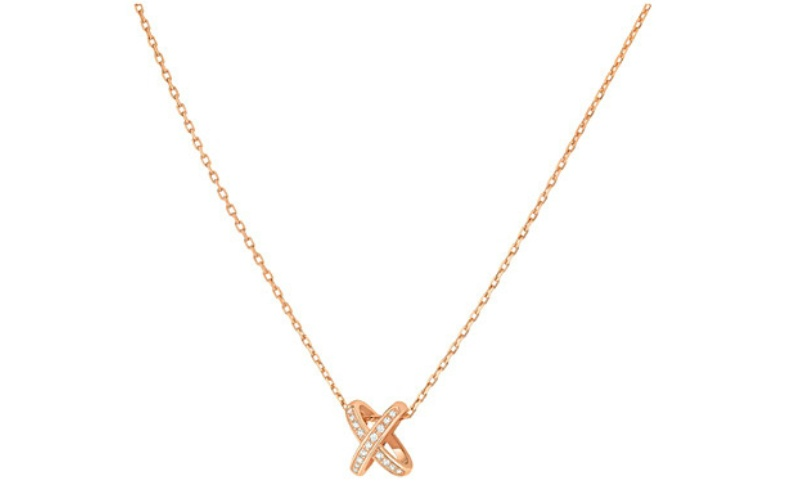 Premier liens 18ct pink-gold and diamond pendant necklace