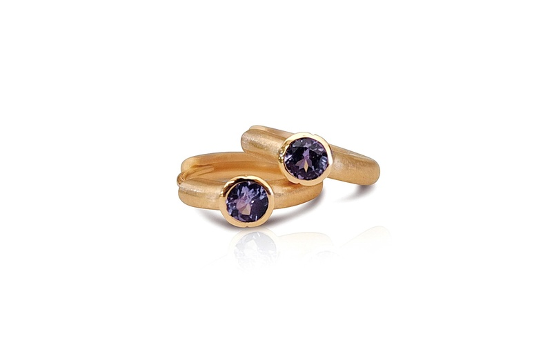 'Little Luca' 18 Carat Rose Gold Tanzanite Earrings