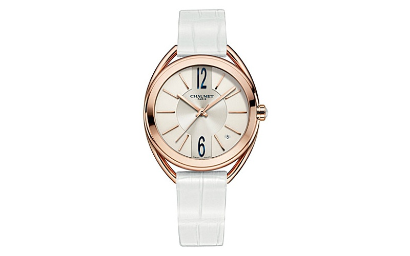 18ct pink-gold and leather watch
