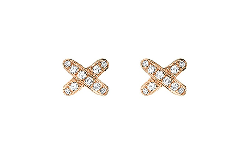 Liens de Chaumet 18ct pink-gold and diamond earrings