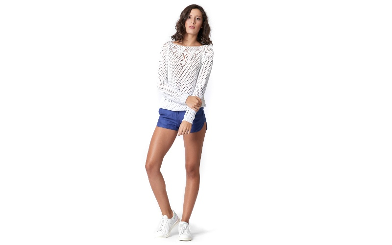 Cotton Tailored Shorts in Blue