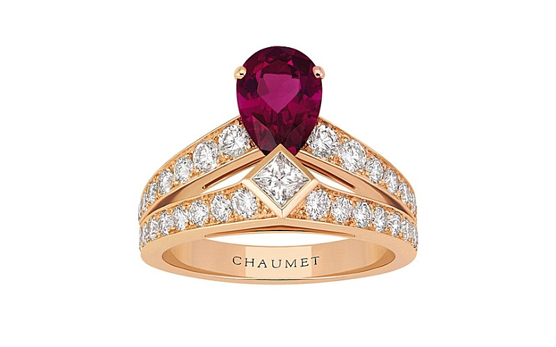 Joséphine Tiara 18ct pink-gold, rubellite and diamond ring