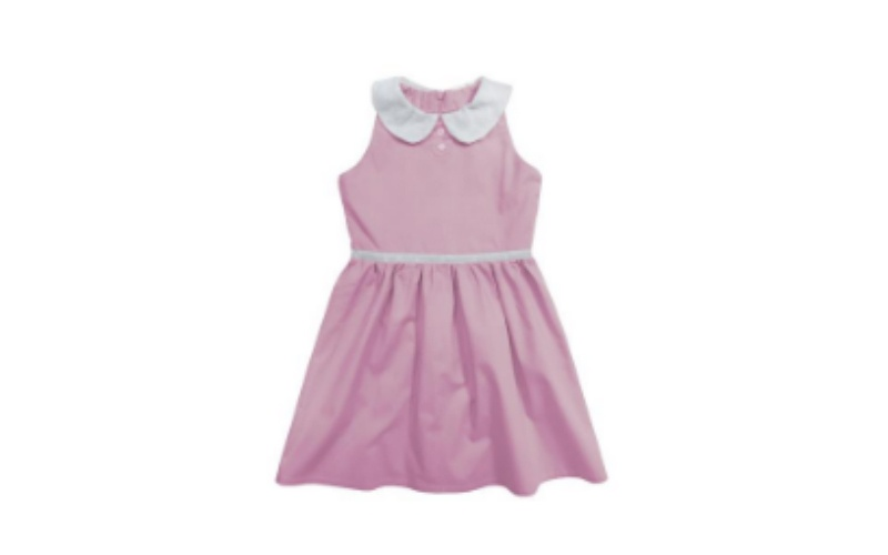 SLEEVELESS DRESS PETER PAN COLLAR - PINK